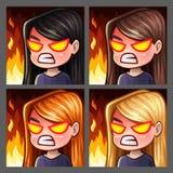 Fêmea da raiva dos ícones da emoção com cabelos longos para redes e etiquetas sociais ilustração do vetor