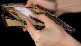 A fêmea distribui dólares do dinheiro da bolsa Dólar e Hryvnia Fundo preto video estoque