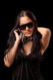 Fêmea DJ em um vestido preto Fotografia de Stock