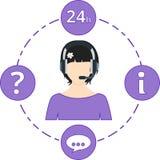 Fêmea do apoio - cor, ícones do serviço e auriculares roxos Fotografia de Stock Royalty Free