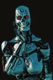 Fêmea do Cyber em um fundo escuro e molhado ilustração do vetor