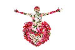 A fêmea e as rosas florescem na exposição dobro no fundo branco imagens de stock