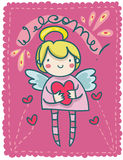Fêmea feliz do anjo da guarda Imagens de Stock Royalty Free