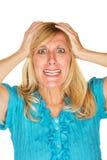 Fêmea frustrante com mãos na cabeça Fotos de Stock