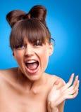 Fêmea gritando lindo Fotos de Stock Royalty Free