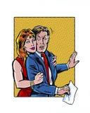 Fêmea ilustrada banda desenhada no acosso sexual masculino do local de trabalho Imagem de Stock