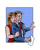 Fêmea ilustrada banda desenhada no acosso sexual masculino do local de trabalho Fotografia de Stock Royalty Free