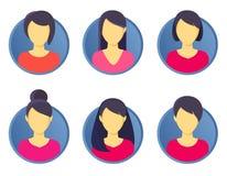 Fêmea incuding do grupo do ícone da imagem do perfil do Avatar Ilustração do vetor fotos de stock