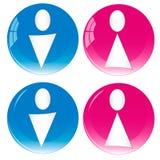 Fêmea masculina dos ícones do toalete do toalete do Wc Imagem de Stock