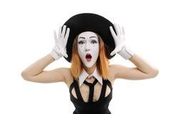 A fêmea mimica no branco imagens de stock royalty free