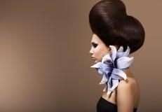 Denominação. Mulher lindo da forma com penteado na moda. Cabelos de Brown fotografia de stock royalty free