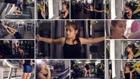 Fêmea no gym Esporte ativo, fundo saudável do estilo de vida filme