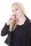 Fêmea no telefone de pilha Fotografia de Stock