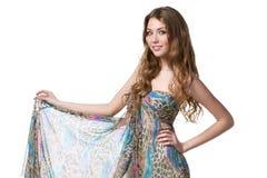 Fêmea no vestido do chiffon imagem de stock