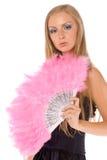 Fêmea nova com o ventilador cor-de-rosa da mão isolado Imagens de Stock