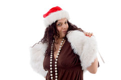 Fêmea nova no chapéu do Natal Foto de Stock Royalty Free