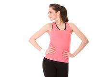 Fêmea nova que faz alguns exercícios, isolados fotos de stock