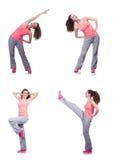 A fêmea nova que faz exercícios no branco imagem de stock royalty free