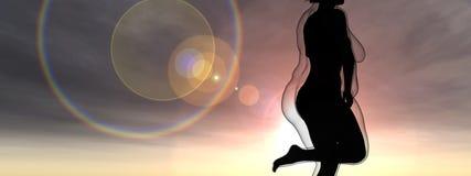 Fêmea obeso excesso de peso contra o corpo saudável do ajuste magro ilustração stock
