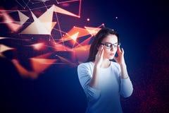Fêmea pensativa com mente artificial Fotografia de Stock