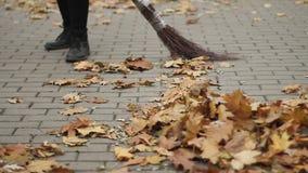 Fêmea que limpa a rua, folhas caídas varrendo no parque, trabalho duro, salário baixo filme