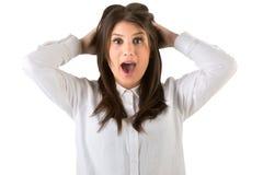 Fêmea que olha surpreendida Imagens de Stock