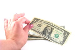 Fêmea que pegara o dólar fotografia de stock royalty free