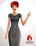 Fêmea ruivo atrativa que aponta seu dedo em algo tomar partido ilustração royalty free