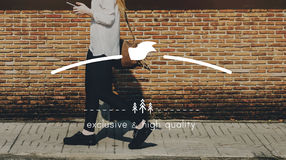 A fêmea Streetwalk fora o conceito do gráfico da bandeira Imagens de Stock