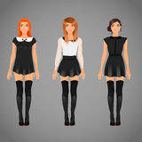 Fêmeas bonitas em vestidos preto e branco do colar Imagens de Stock