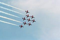 Fête aérienne rouge de flèches Photo stock