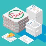Fête au bureau, piles de papier avec isométrique une boîte de pizza illustration stock
