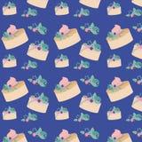 Fête d'anniversaire de fleurs et de gâteaux Images stock