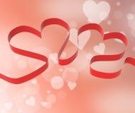 Fête d'anniversaire ou décorations d'exposition de coeurs de ruban Images stock