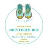 Fête de naissance et carte d'arrivée - thème de chaussures de bébé Photographie stock libre de droits