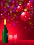 Fête de Noël avec la bouteille et les verres de vin Image libre de droits