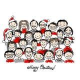 Fête de Noël avec le groupe de personnes, croquis pour Photographie stock
