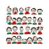 Fête de Noël avec le groupe de personnes, croquis pour Image stock