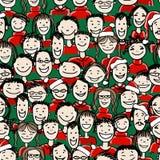 Fête de Noël avec le groupe de personnes, sans couture Photos stock
