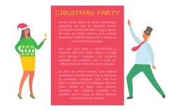 Fête de Noël, les gens célébrant le Fest de nouvelle année illustration de vecteur