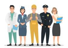 Fête du travail Un groupe de personnes de différentes professions sur un blanc illustration stock