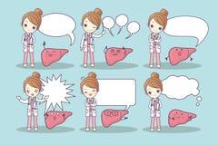 Fígado e doutor dos desenhos animados ilustração do vetor