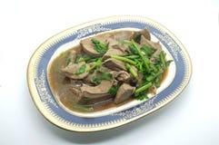 Fígado fritado agitação da carne de porco com aipo Imagem de Stock