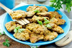 Fígados de galinha fritados friáveis Fotos de Stock