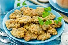 Fígados de galinha fritados friáveis Fotografia de Stock