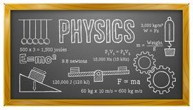 Física, ciência, escola, educação, quadro-negro Imagens de Stock Royalty Free