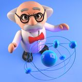 Físico louco do cientista que estuda uma partícula atômica, ilustração 3d