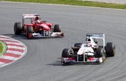Fórmula 1 que compite con en Barcelona Fotografía de archivo libre de regalías