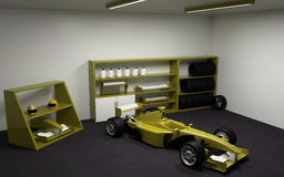 Fórmula 1, coche de competición en garaje Imagen de archivo
