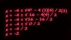 Fórmula cuadrático escrita en neón stock de ilustración